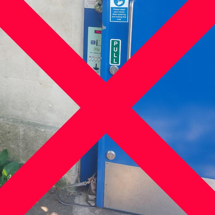 Don't prop the toilet door open!