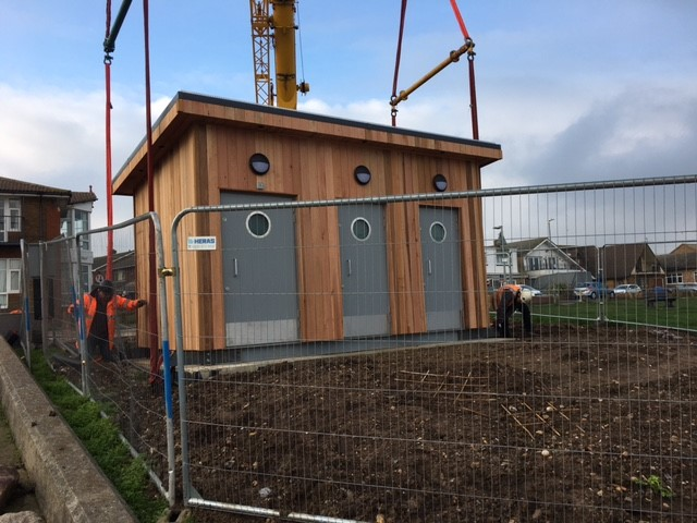 Swale Public Toilets being hoisted in to place