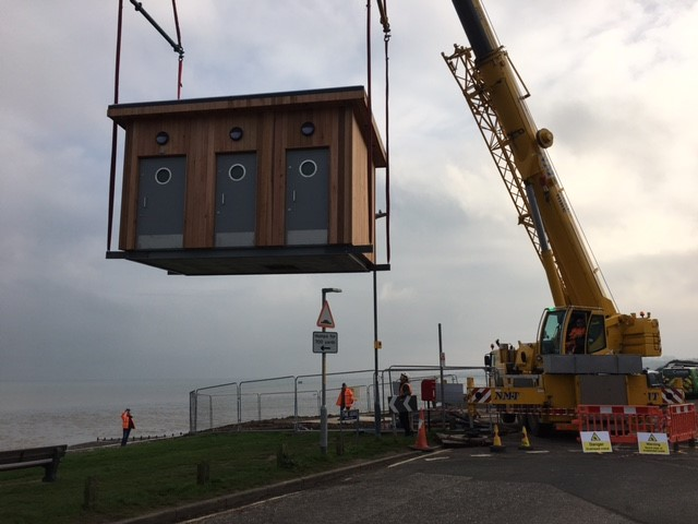 Swale public toilets being delivered in to place by a crane