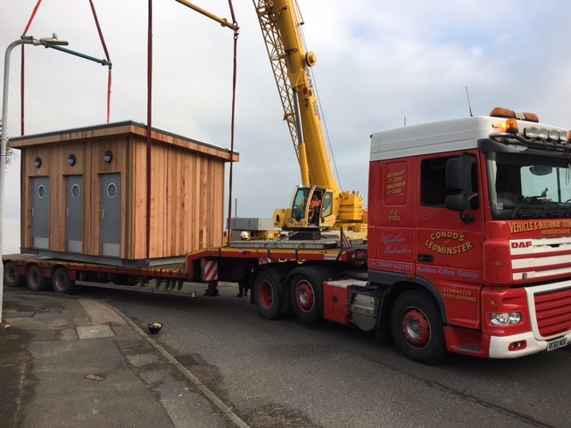 Swale public toilets arriving on a lorry